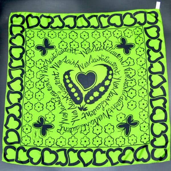 Yves Saint Laurent silk scarf hearts flowers divine style french antiques 1