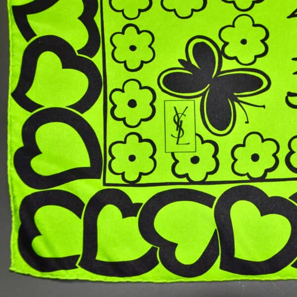 Yves Saint Laurent silk scarf hearts flowers divine style french antiques 2