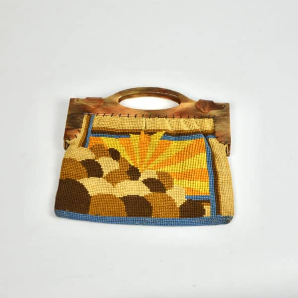 divine style french antiques Art Deco embroidered bag purse with sunburst design 1
