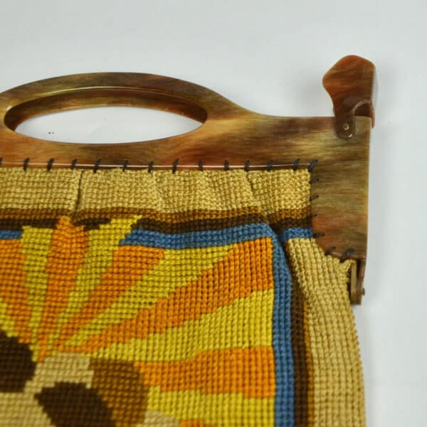 divine style french antiques Art Deco embroidered bag purse with sunburst design 3