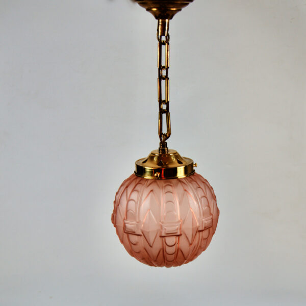art deco globe ceiling light fixture french antique glass light, pink translucent glass light on chain, art deco pendant light 1930s 1a