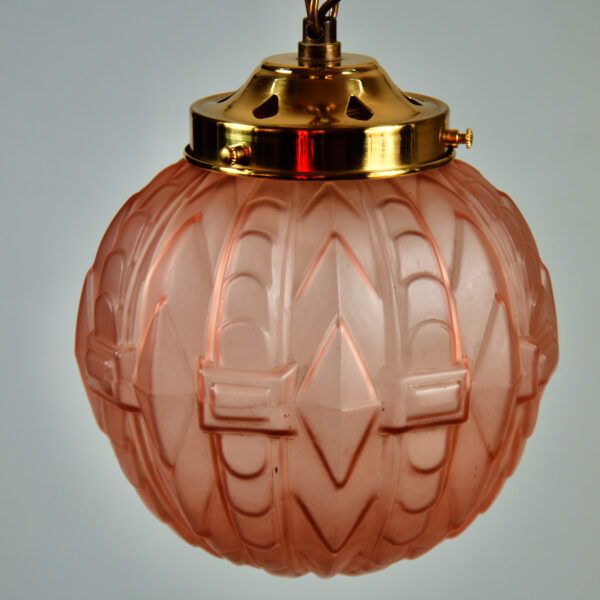 art deco globe ceiling light fixture french antique glass light, pink translucent glass light on chain, art deco pendant light 1930s 1c