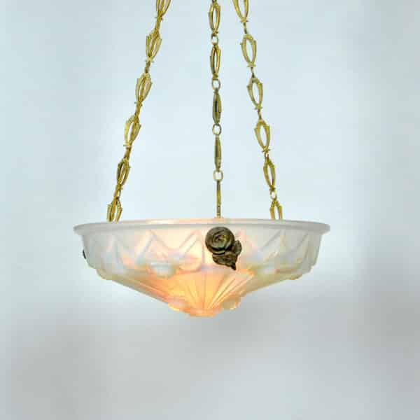 divine style french antiques art deco opalescent glass ceiling light Jean Gauthier