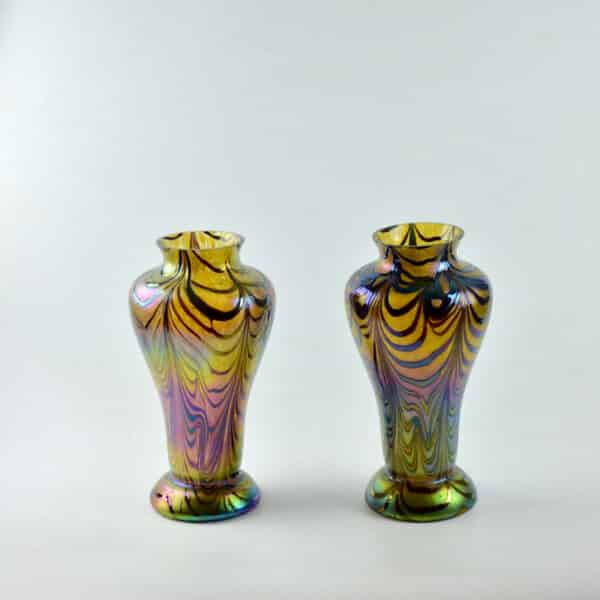 divine style french antiques loetz iridescent baluster vases 4
