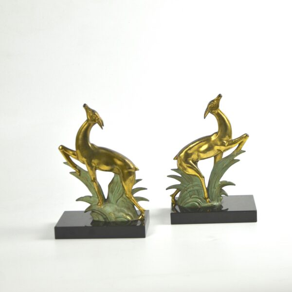 divine style french antiques art deco bookends leaping deer onyx pair