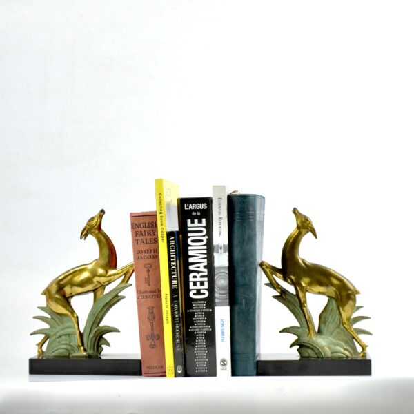 divine style french antiques art deco bookends leaping deer onyx 3