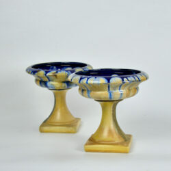 pair Art Deco Belgian pottery bowls on pedestals 1920s 1