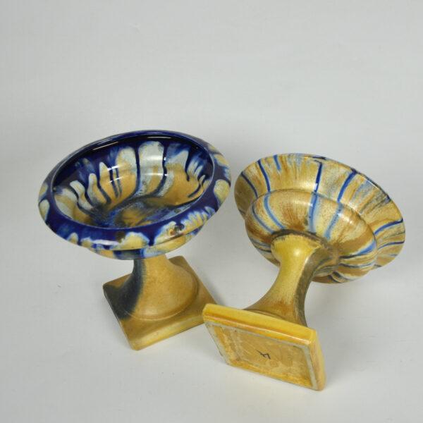 pair Art Deco Belgian pottery bowls on pedestals 1920s 3