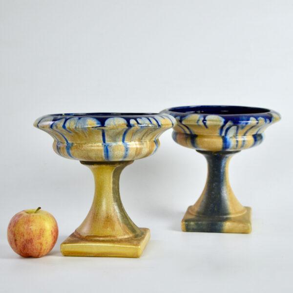 pair Art Deco Belgian pottery bowls on pedestals 1920s 6.jpeg