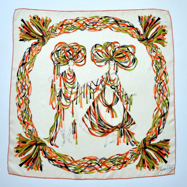 divine style french antiques rare Jacques Fath silk scarf 2
