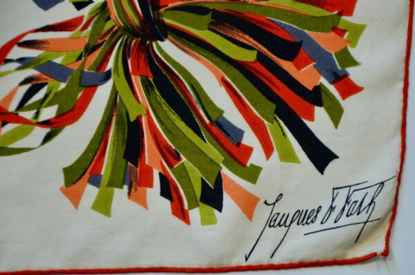 divine style french antiques rare Jacques Fath silk scarf 1