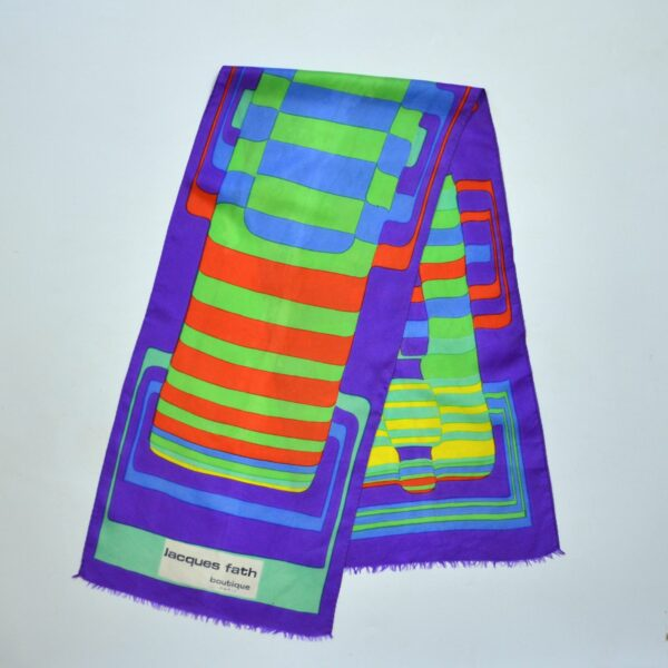 divine style french antiques jacques fath silk scarf 1960s op art 1
