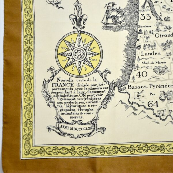 divine style french antiques 1970s silk scarf French department map 1