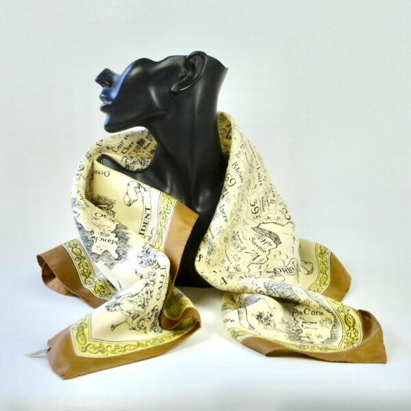 divine style french antiques 1970s silk scarf French department map 2