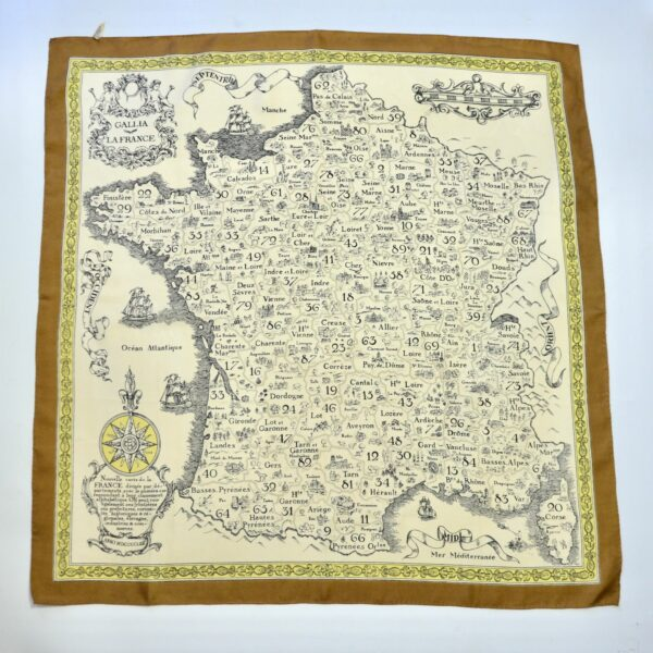 divine style french antiques 1970s silk scarf French department map