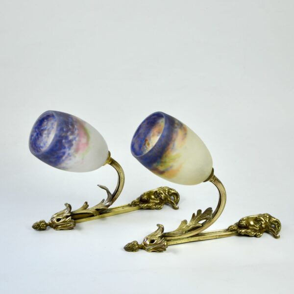 divine style french antiques muller freres wall lights sconces pate de verre 1