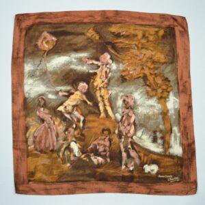 vintage lanvin castillo silk scarf 1950s children's games