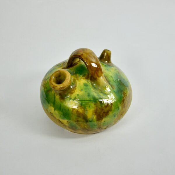 french glazed green terracotta pot cruche gargoulette 5