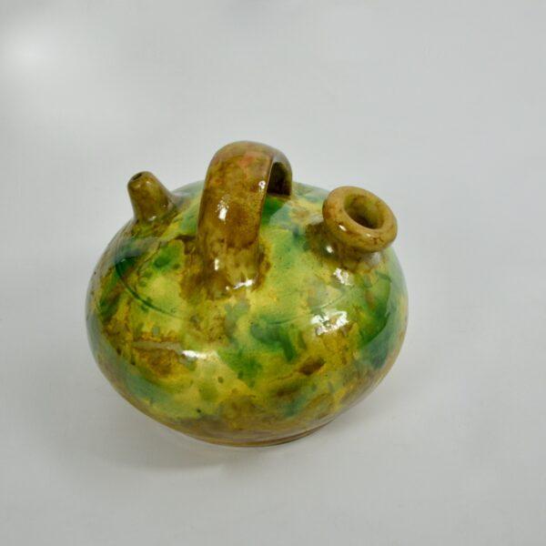 french glazed green terracotta pot cruche gargoulette 3 2