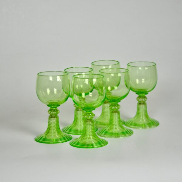 antique uranium glass rummers set 6 1