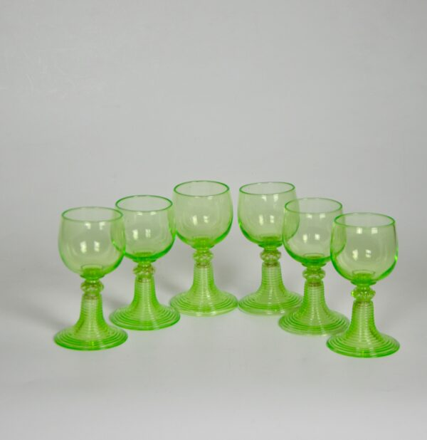 antique uranium glass rummers set 6