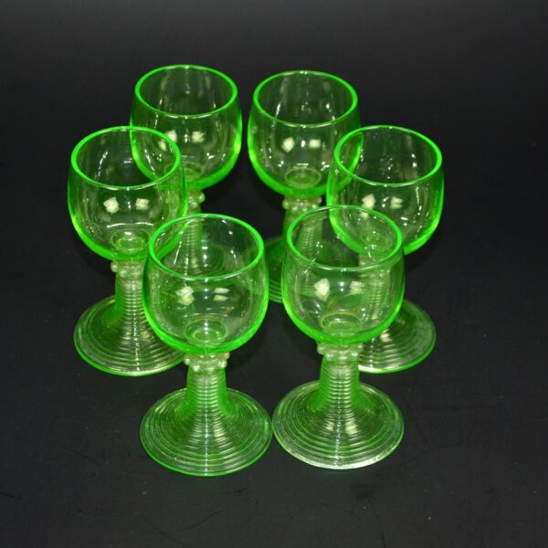 antique uranium glass rummers set 6 antique
