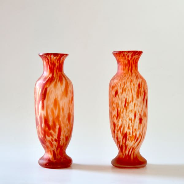 pair of legras vases spatter glass baluster divine style french antiques