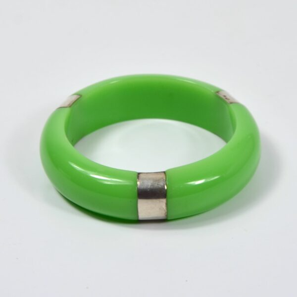 Apple green bakelite and silver bangle divine style french antiques