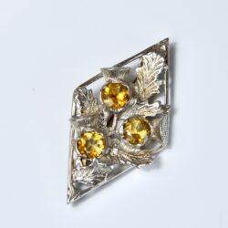 scottish silver thistle brooch citrine divine style french antiques
