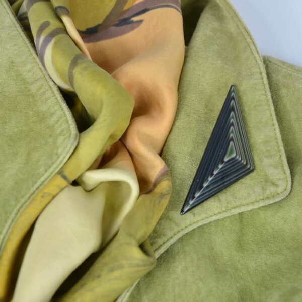 vintage lea stein brooch green metallic divine style 1
