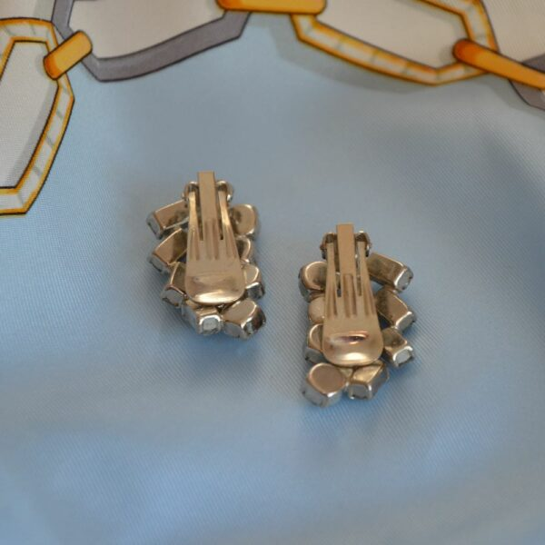 1950s rhodium pl diamante earrings divine style french antiques 3