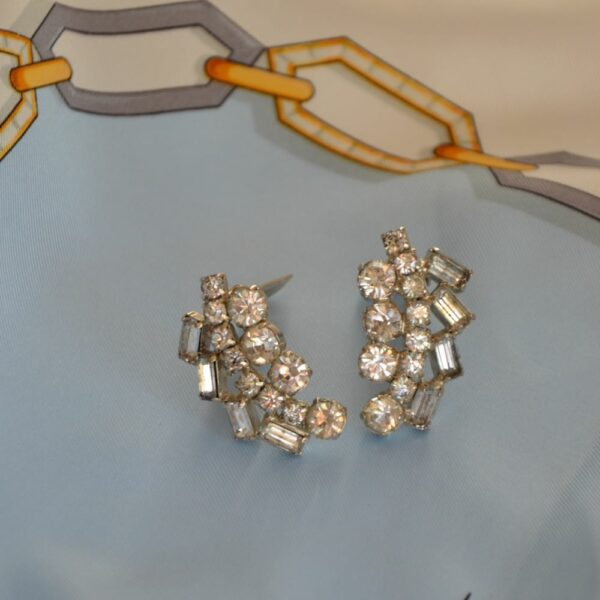 1950s rhodium pl diamante earrings divine style french antiques 2
