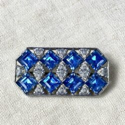 art deco czech glass rhodium plated brooch divine style french antiques