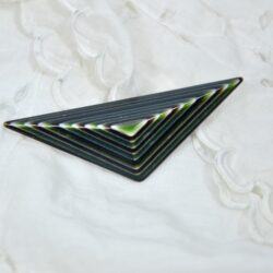 vintage lea stein paris geometric brooch green metallic 2