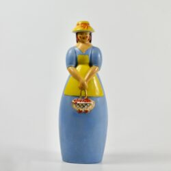 Robj Paris art deco liquor bottle cherry brandy lady with basket french ceramics 1