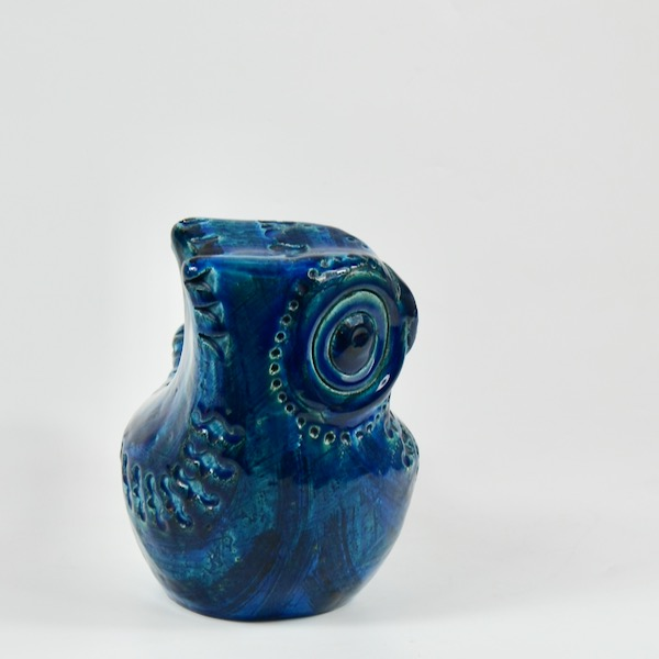 bitossi bird aldo londi rimini blu blue mid century italian pottery ceramic owl 1