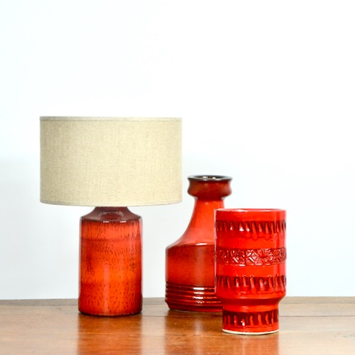 1960s red ceramics divine style french antiques