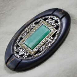 antique brooch jade silver 1900 divine style french antiques