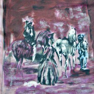 jeanne lanvin castillo silk picture scarf 1950s divine style french antiques 1