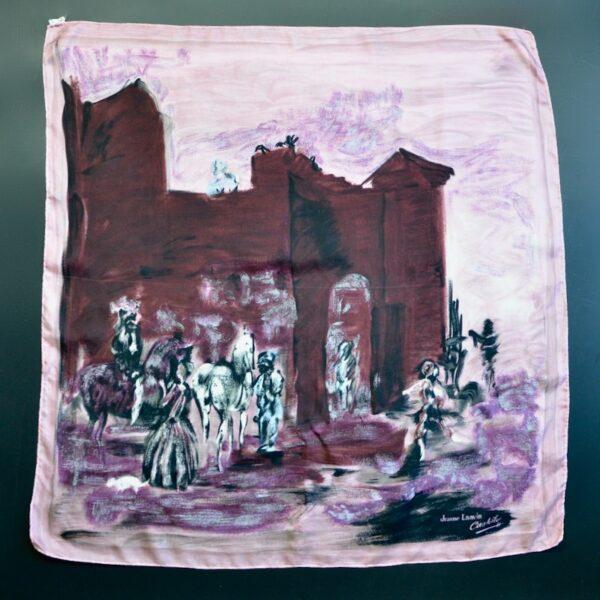 jeanne lanvin castillo silk picture scarf 1950s divine style french antiques