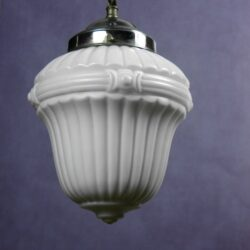 1920s french opaline glass ceiling light pendant light milk glass chrome 3