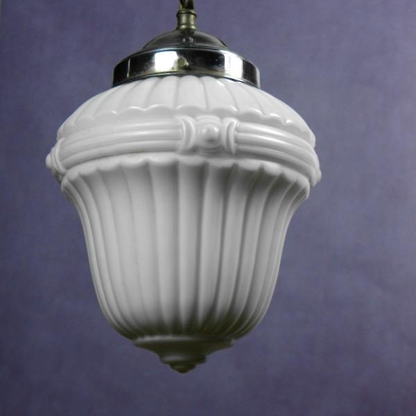 1920s french opaline glass ceiling light pendant light milk glass chrome 3