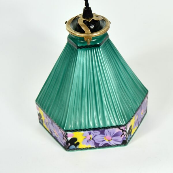 Czech glass art deco pendant light fixture divine style french antiques 3