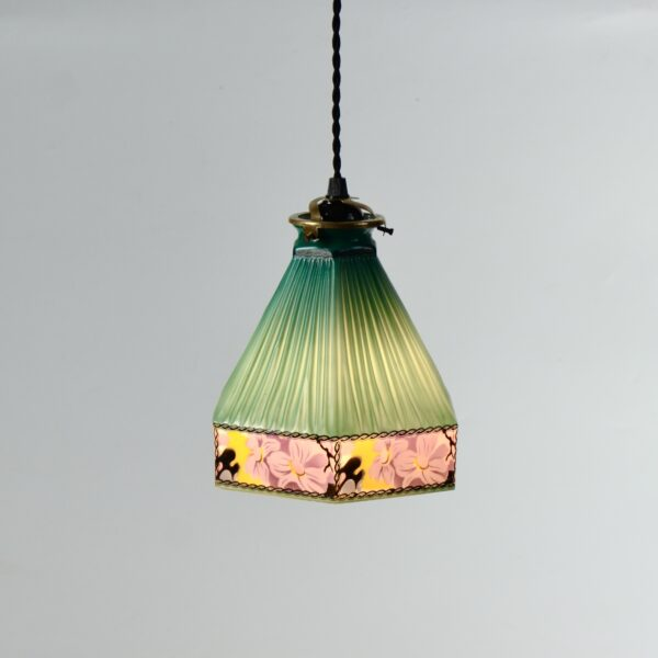 Czech glass art deco pendant light fixture divine style french antiques 1