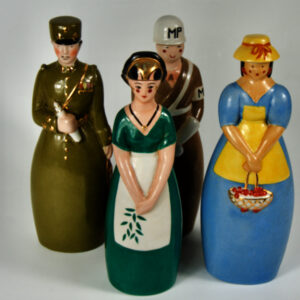 4 original robj paris liquor bottles art deco french ceramics