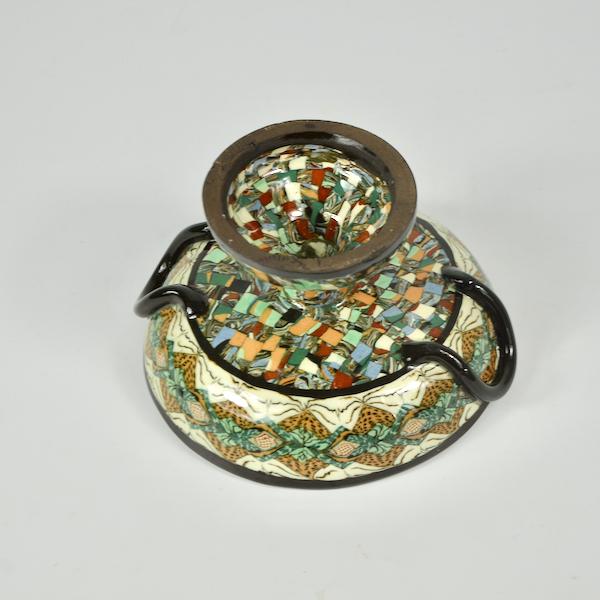 Gerbino Vallauris French mosaic pedestal bowl art deco French pottery ceramics 3