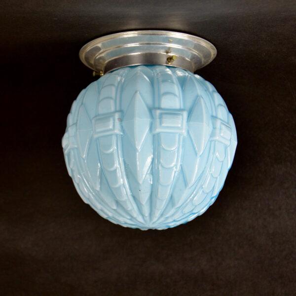 art deco globe ceiling light fixture french antique opaline glass light, blue opal glass light 1930s 1