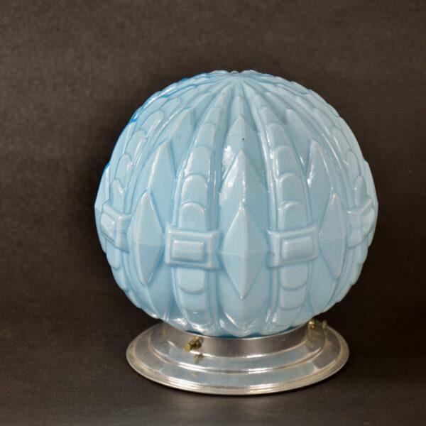 art deco globe ceiling light fixture french antique opaline glass light, blue opal glass light 1930s