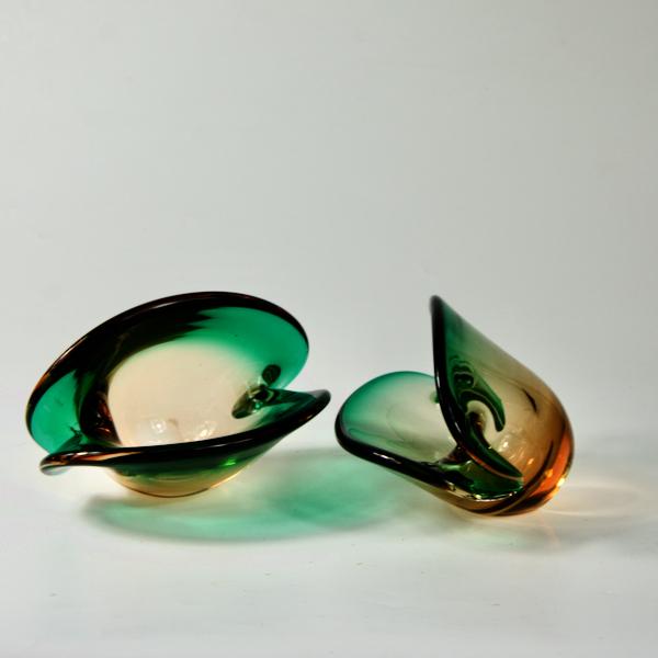 pair of murano glass vase mid century modern 1960s oyster Venetian glass 2