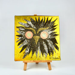 1960s mixed media picture owl 3D art H Thibaut mid century 1970s
